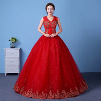 Wholesale Sexy Design Wedding Dress - Robe De Mariee 2017 New Design Elegant Chinese Embroidery Wedding Dresses V-Neck Diamond Sexy Vintage Wedding Gowns