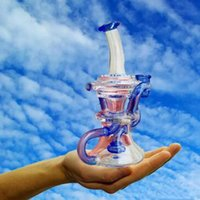 Wholesale Canada Water - 2017 Clear And Blue Hand recycler water Pipes Glass bongs Thick Base Heady bubbler Canada scientific pipe dab oil rigs durable Hookahs