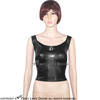 aaf95392d3 Wholesale latex bras online - Black Sexy Latex Crop Top Wire Free Fetish  Rubber Bra Lingerie