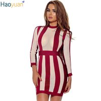 Wholesale Stripe See Through Dresses - Autumn Sexy Bodycon Club Dress See Through Long Sleeve Package Hip Stripe Pencil Mini Dress Women Party Night Club Dress 17301