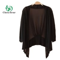 Wholesale Ice Air Conditioning - Wholesale- Chou fleur Cardigan Female Thin Loose Ice Silk Knit Short Summer Air Conditioning Plus Large Size Tops L-4XL