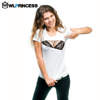 Wholesale 3d Fake Shirts - Wholesale-Owlprincess 2016 New Women 3D Funny White Tops Tees Print Fake Naked Big Chest Bra Flag T-Shirt Short Sleeve Tshirts Plus Size