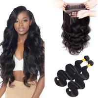 Wholesale 2pcs Bundles Closure - Brazilian virgin hair bundles body wave with closure 360 lace frontal virgin human hair extensions body wave 2pcs with frontal