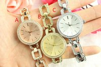 Wholesale Large Clock Wholesale - large letters Clock dial Strip nail Clock dial Rhinestone Diamond inlay Luxurious Latest quartz Women watch Jewelry button Full Steel Watche
