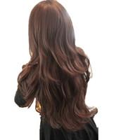 kızlar kahverengi saç peruk toptan satış-Kadın Kızlar Natrual Cosutme Parti Cosplay Için Uzun Dalgalı Tam Başkanı Peruk Siyah Açık Kahverengi Koyu Kahverengi 68 Cm Sentetik Saç Peruk