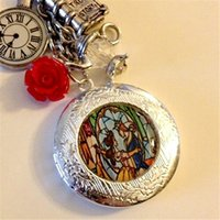 Wholesale Clock Locket Necklaces - 12pcs lot Beauty and the Beast Stained Glass Locket Necklace book clock red flower charm necklace silver tone