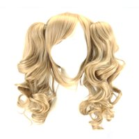 Wholesale Blonde Wig Curly Ponytail - WoodFestival double ponytail clip wig wavy blonde anime wigs for woman medium length heat resistant synthetic fiber hair