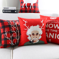 Wholesale Chinese Throw - Christmas Deer Cushion Cover Chinese Red Pillow Case Super Soft Throw Pillow Cover Bedroom Sofa Decoration