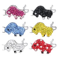 Wholesale Polymer Clay Watches Wholesale - Cute Fighting Bull Snaps Charm Bracelet Rhinestone Polymer Clay DIY Watch Snap Charms For Snap Button Jewelery Colorful Choice