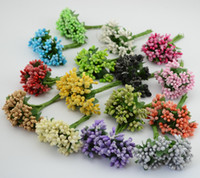 Wholesale mulberries flowers - Wholesale- 12pcs lot Mulberry party Artificial Flower Wreath material Stamen wire stem marriage leaves stamen wedding box decoration