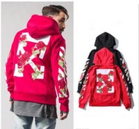 Wholesale White Hooded Cardigan Sweater - vlone Autumn and winter new OFF WHITE kanye west hip hop striped arrow embroidery rose hooded zipper male and female couple sweater
