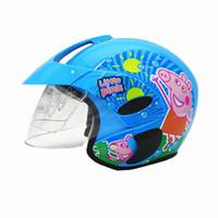 Wholesale Child Motorcycle Helmet - Wholesale- New motorcycle children helmet motorcycle half face helmet with cartoon pattern kids helmet age:2-9 size:48-53cm