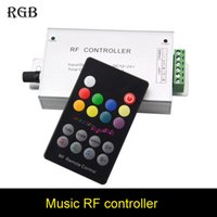 Wholesale 12v Light Strip Audio - 18 Key RGB Led Music Controller DC12V 24V Audio Sound 3 Channel*4A 12A RF 433.92mhz Wireless Remote to Control Strip Light