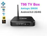 Wholesale Uk Cases - 10pcs T95 Android TV Box Amlogic S905X Quad Core Ram 2G Rom 8G Kdi16.0 Dual WIFI 2.4GHz 5.0GHz Bluetooth HDMI Metal Case LED Display