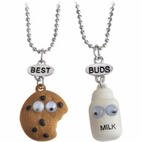 Wholesale Miniature Charms - 20 Sets Lot 2pcs set BEST BUDS Miniature Cookies Biscuit Milk Pendant Necklaces BFF Friendship Creative Jewelry Christmas Gift Birthday