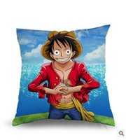 Wholesale Luffy Pillow - One Piece Japanese Anime Pillowcase Monkey D Luffy Pillow Cover 45cmx45cm Two Sides Printed Free Shipping TOP1793CC