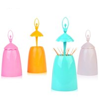 Wholesale Toothpicks Dispensers - Wholesale- Creative Toothpick Holder Automatic Dispenser Home Ballet Desk Accessories Automatic Toothpick Bucket Paliteiro Holder