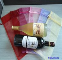 "Wholesale Luxury Organza Gift Bags - Wine Bottle Cover luxury Clear Organza Drawstring Bags 15x35cm ( 6"" x 13 6 8"" ) Fashion Gift Pouches"