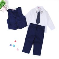 Wholesale Shirts For Children Boy - Boys England style Gentlemen 4pc suits Necktie Waistcoat Turndown collar Shirt Trousers Children Gifts Dress Outfits for 2-7T