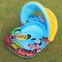 Wholesale Rubber Inflatable Boats - Baby Float Seat Car Boat Sun Shade Baby Swim Inflatable Children Rubber Circles Safety Swim Pool Swim Trainer Swimming Accessories