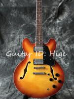 elektrische jazzgitarre f löcher großhandel-Neue stil hochwertige benutzerdefinierte e-gitarre, doppel F loch auf körper, hohlkörper jazz e-gitarre, heißer verkauf guitarra