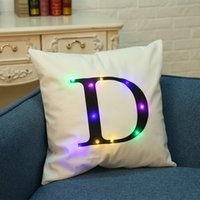 Wholesale Light Up Pillows - LED Pillow Case Cushion Covers Flash Letter lights Boster Cases square pillowslip Sofa Throw Pillowcase Home Decorations for Christmas