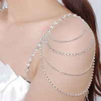 Wholesale Bra Jewelry Accessories - New Free Shipping Sparkly Diamond Crystal Bra Strap Detachable Bridal Wedding Prom Party Dress Rhinestones Straps Bridal Jewelry Accessory