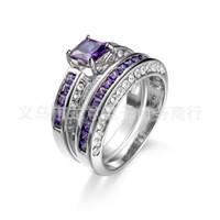 ingrosso anello di cerimonia nuziale dell'ametista-Set di fedi nuziali placcate oro bianco 6 mm con ametista diamonio diamantato Sz 6-10