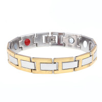 Wholesale Man Magnetic Therapy - Men Link chain Magnetic Therapy Bracelet for men Gift high quality silver &gold color magnetic cuff bracelet & bangle wholesale