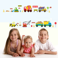 Wholesale stickers for car glass for sale - Wall Sticker For Kid Room Decorative Cartoon Car City Construct Works Water Proof Stickers Removable Art Decal zx F R