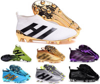 Wholesale Cheap Black Football Cleats - Soccer ACE 16+ PureControl FG Slip On Men's Soccer Shoes Boots Men Cheap Original Performance Ace 16 Cleats Football Shoes Sneakers