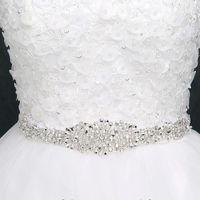 ingrosso bordo da sposa borgogna-2017 Cintura da sposa con strass Cintura da sposa Cinture Cinture da sposa per abiti da sposa Cristalli Bianco avorio Grigio Nero Borgogna Rosa