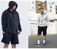 100% Cotton sport short pant men - Tech Fleece Sport Shorts Zipper pocket Sport pants casual pants Grey Black S XL Short Man s Casual Shorts