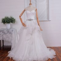 Wholesale Sweetheart Strapless Sparkling Wedding Dress - Off White Ball Gown Wedding Dresses Sparkling Sash Strapless Lace-up Back Court Train Soft Tulle Organza Bridal Gowns Real Pictures