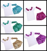 Wholesale Sequin Dance Outfits - summer girls outfits Girls Mermaid clothing set T--shirt tops+Girls Mermaid shorts pant+sequin headband 3pcs suit girl's dance clothes 17-34