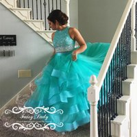 Wholesale Turquoise Crystal Long Dress - Turquoise Girls Two Piece Quinceanera Dresses Brilliant Major Beading Crystal Tiered Ball Gown Tulle Long Sweet 16 Pageant Dresses Gowns