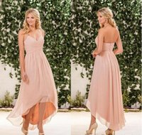 Wholesale Hi Low Halter - Blush Pink Chiffon High Low Bridesmaid Dresses Cheap Halter Pleats Back Zipper Long Beach Country Garden Maid Of Honor Gown