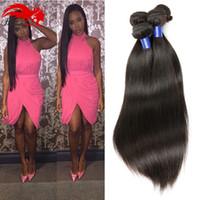 Wholesale Sunlight Brazilian Hair - Malaysian Virgin Hair Straight 4pcs Lot Sunlight Hannah Company Malaysian Straight Hair Unprocessed Human Remy Hair Bundles 1B#