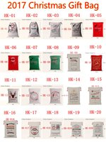 Wholesale Wholesale Drawstring Bags Cotton - 2017 Christmas Large Canvas Monogrammable Santa Claus Drawstring Bag With Reindeers Monogramable Christmas Gifts Sack Bags