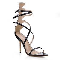 sandalias de tacon imagenes al por mayor-Negro Real Image Mujer Sandalias 2017 Partido Zapatos Hebilla Correa Metal Thin Heels Zapatos Mujer Zapatos Mujer Zapatos Mujer
