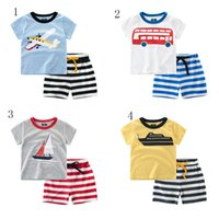 Wholesale T Shirt Cars Baby - Baby boys outfits summer kids airplane Boat car print T-shirt+shorts 2pcs set children suits 7 styles C2455