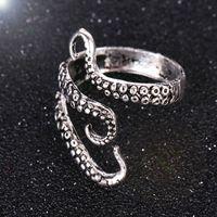 кольца осьминога оптовых-Мода новый осьминог кольца панк стиль сплава палец кольца для мужчин Античное серебро животных кольца ювелирные изделия