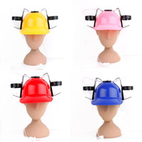 Wholesale Travel Straw Hats - 2017 New Creative Straw Drinking Helmet Outdoor Camping Travel BBQ Beer Drink Straw Party Hat Kids Birthday Party Supplies