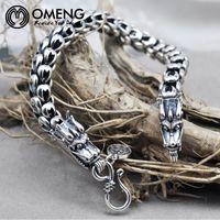 Wholesale Thai Silver Bracelets Men - Wholesale- OMENGTop-Grade Men Dragon Bracelet Pure 925 Sterling bracelet silver 925 Jewelry Men Thai silver bracelet for men Jewelry OSL064