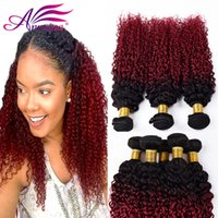 Brazilian Ombre Two Tone 1B / BG Kinky Hairly Hair Hair Extensions Ombre Kinky Curly Hair Bundles 3pcs lot