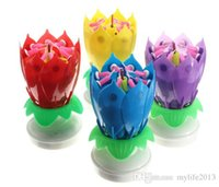 Amazing Romantique Musical Lotus Fleur tournante Happy Birthday Cake Candles Party Gift Décoration rotative Light 8 Candles Lamp