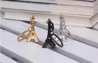 Wholesale Retro Topaz - Couple Lovers Key Ring Advertising Gift Keychain Alloy Retro Eiffel Tower Key Chain Tower French France Souvenir Paris Keyring