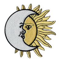 Wholesale fashion house clothes - Green House Fashion MOON SUN Embroidery Iron On  Sew On Patch 11.5cm Cartoon Jersey Patch Applique DIY Clothing Emblem Free Shipping