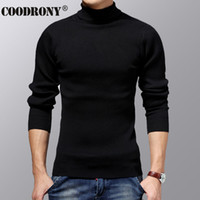 Wholesale men s cashmere turtlenecks - Wholesale- COODRONY Turtleneck Sweater Men Winter Thick Warm Wool Sweaters Christmas Knitted Cashmere Pullover Men Slim Fit Jersey Man 6703