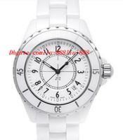 beyaz seramik otomatik erkek saatleri toptan satış-Lüks Saatler YENI erkek H0970 Beyaz Seramik 38mm Otomatik Gün Marka YENI Çizilmeye Dayanıklı Safir Serin Erkek Saatler